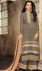 Karisma Kapoor Gray Color Georgette Embroidered Suit #bollywoodsuitcollection #bollywoodactressesdressesonline Dress-up yourself in trend with this Karisma Kapoor gray color georgette embroidered suit. The floral patch, lace and resham work on dress personifies the overall appearance.  USD $ 73 (Around £ 50 & Euro 55)