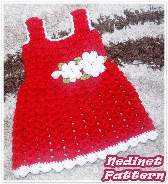 Crochet baby red dress pattern crochet baby by NedinetPattern