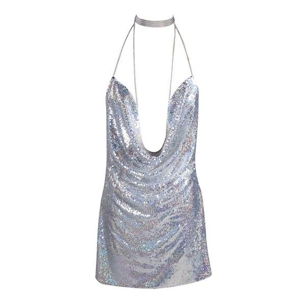 Birthday Suit Metallic Sequin Cowl Neck Side Split Spaghetti Strap Cut... ($88) ❤ liked on Polyvore featuring dresses, silver, short dresses, sequin cocktail dresses, silver metallic dress, silver sequin cocktail dress and sequin mini dress
