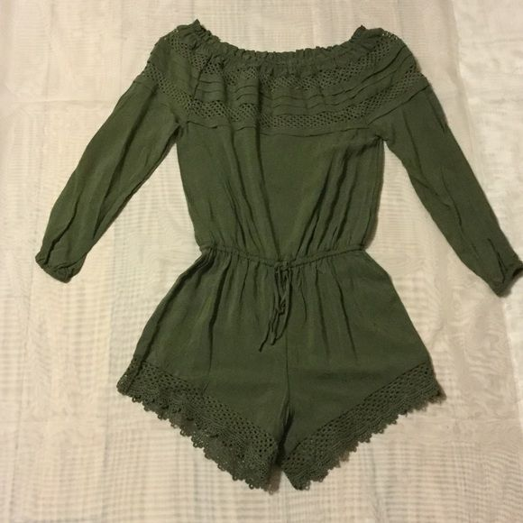 Green long sleeve romper Green long sleeve romper.  Size XS Chelsea & Violet Pants Jumpsuits & Rompers