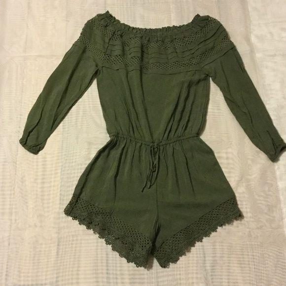 Green long sleeve romper Green long sleeve romper.  Size XS Chelsea & Violet Pants Jumpsuits & Rompers