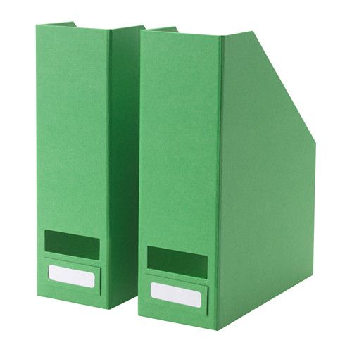 IKEA - TJENA, Magazine file, green, -, , Easy to pull out and lift as the magazine file has a cut-out handle.The included label holder helps you to create an overview to quickly find your things.