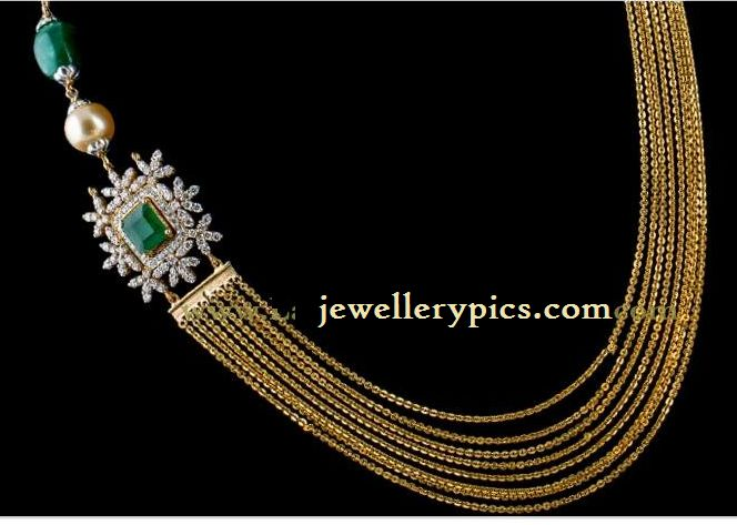 Contemporary chandraharam design with emarald side pendent - Latest Jewellery Designs