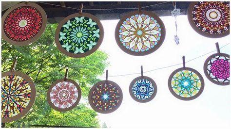 紙で作るステンドグラス工作☆光と色に癒されるローズウィンドウ作り