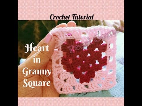 """Crochet - How to make EASIEST """"Heart in Granny Square"""" (Step by Step Tutorial) ♥ Pearl Gomez ♥ - YouTube"""
