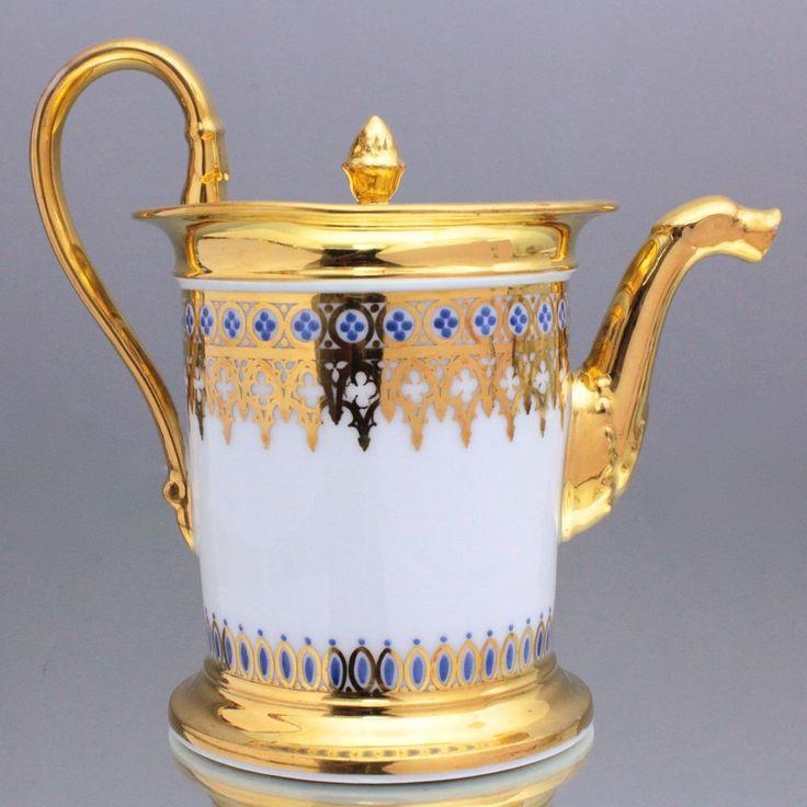 Gotik um 1850: große Teekanne mit gotischen Bögen Gold Frankreich Paris tea po…