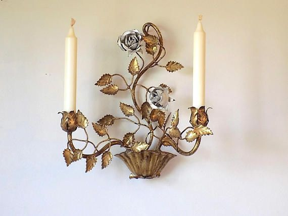 Vintage WHITE ROSES Italian Tole Candle Holder Wall Sconce