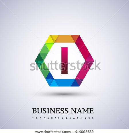 I Letter colorful logo in the hexagonal. Vector design template elements for your application or company logo identity. - stock vector