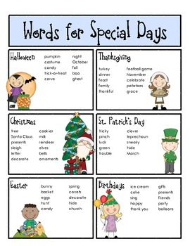 "Sample page from ""Words for Young Writers"" ... Words for Special Days.  This packet includes several spelling aids for young children to use during writing workshop.  Encourage independence with these handy tools for writing notebooks.  $"