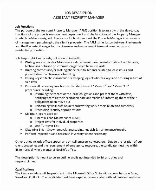 Assistant Manager Resume Description Inspirational Sample Property Manager Job Description 9 Examples In