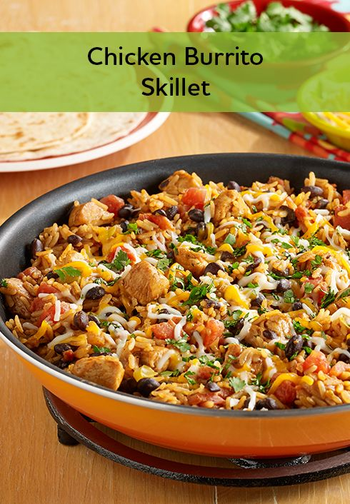 Skillets, Chicken burritos and Rice on Pinterest