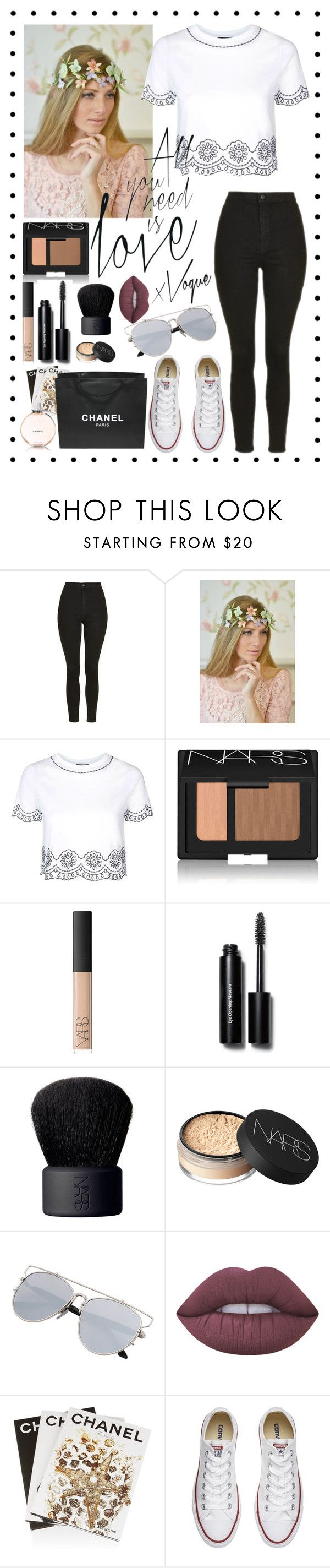 """All you need is love x"" by rhiannonpsayer on Polyvore featuring Topshop, NARS Cosmetics, Bobbi Brown Cosmetics, Lime Crime, Assouline Publishing, Converse and Chanel"