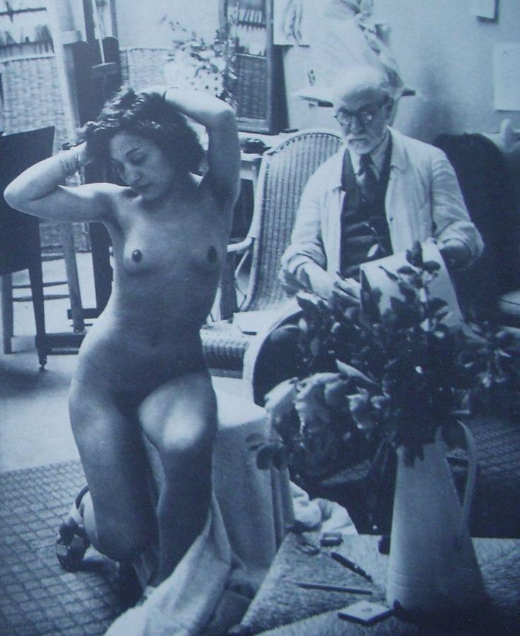 Matisse con una modella - foto del 1939