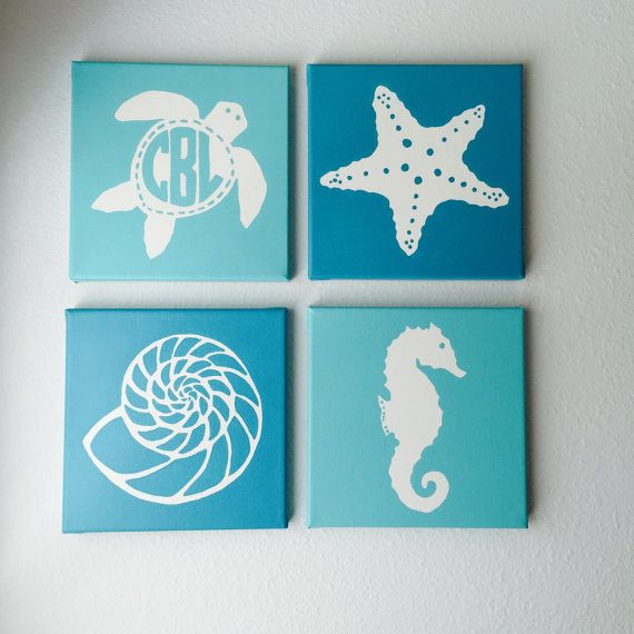 Set of 4 Nautical Canvas Paintings:  Monogrammed Sea turtle, Starfish, Seahorse, Shell    Size: Each Canvas is 8 x 8; When placed together
