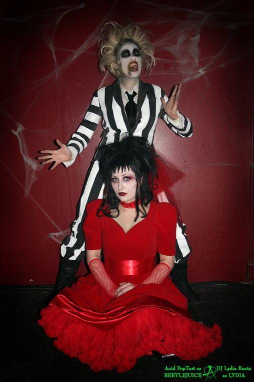 Beetlejuice & Lydia CostumeHalloweencostumes, Halloween Parties, Beetlejuice Costume, Beetlejuic Costumes, Halloween Costumes, Costumes Halloween, Homemade Costumes, Couples Costumes, Costumes Ideas