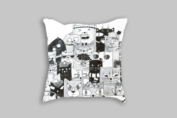 CUSHION CASE - Cat pillow case - Black and white pillow cover - Decorative pillows - Black cat decorative covers 18x18 - Throw pillow for children