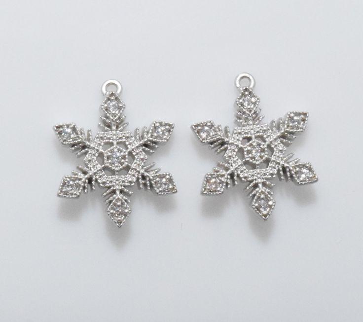 Cubic Snowflake Pendant, Snow Flower Pendant, Jewelry Supplies, Matte Rhodium - 1pcs / RG0016-MR by GemsFlower on Etsy