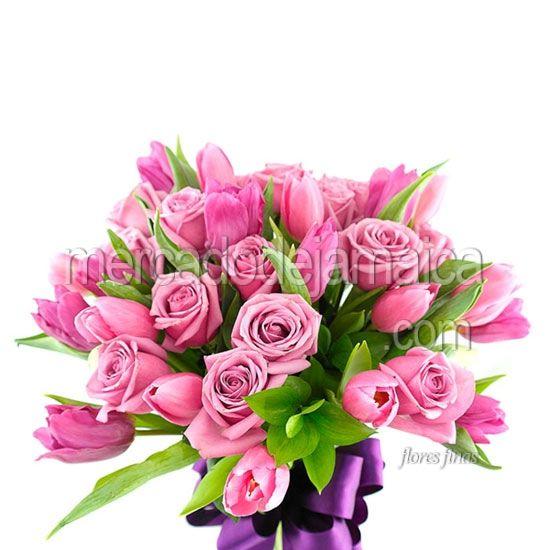 arreglo de flores tulipanes rosa y rosas neptuno pink envia flores