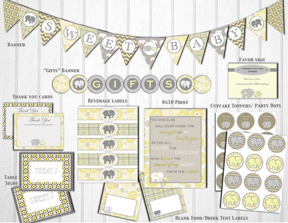 baby shower ideas baby ideas elephant babyshower yellow and gray