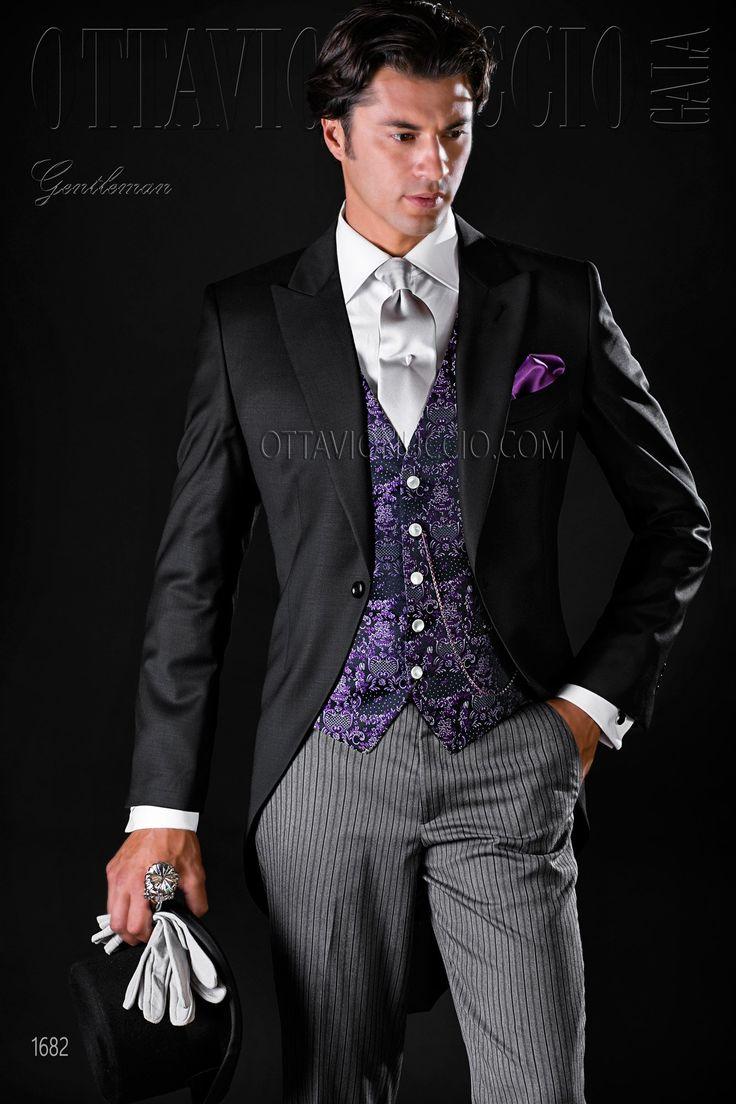 Black morning suit with peak lapel #groom #wedding #tuxedo #longtail #luxury #menswear #madeinitaly