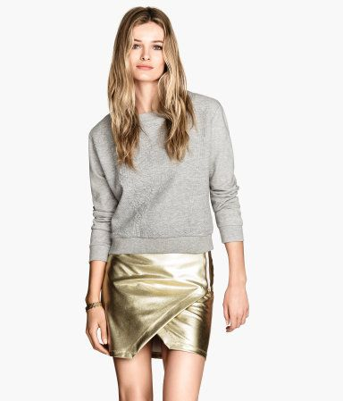 i'm in love with this skirt!  H&M Coated Wrap-front Skirt $29.95