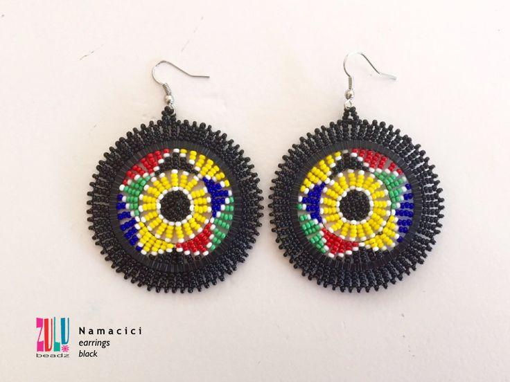 NAMACICI - Zulu Beaded Earrings - black by ZuluBeadz on Etsy