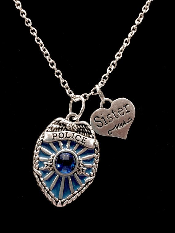 Police Sister Necklace Blue Police Officer by HeavenlyCharmed