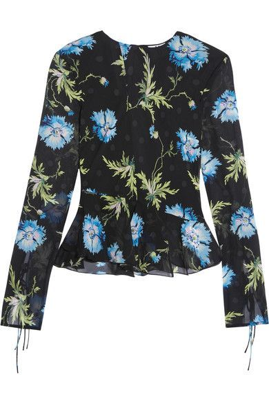 Topshop Unique - Evelyn Open-back Embellished Printed Silk-georgette Blouse - Black - UK