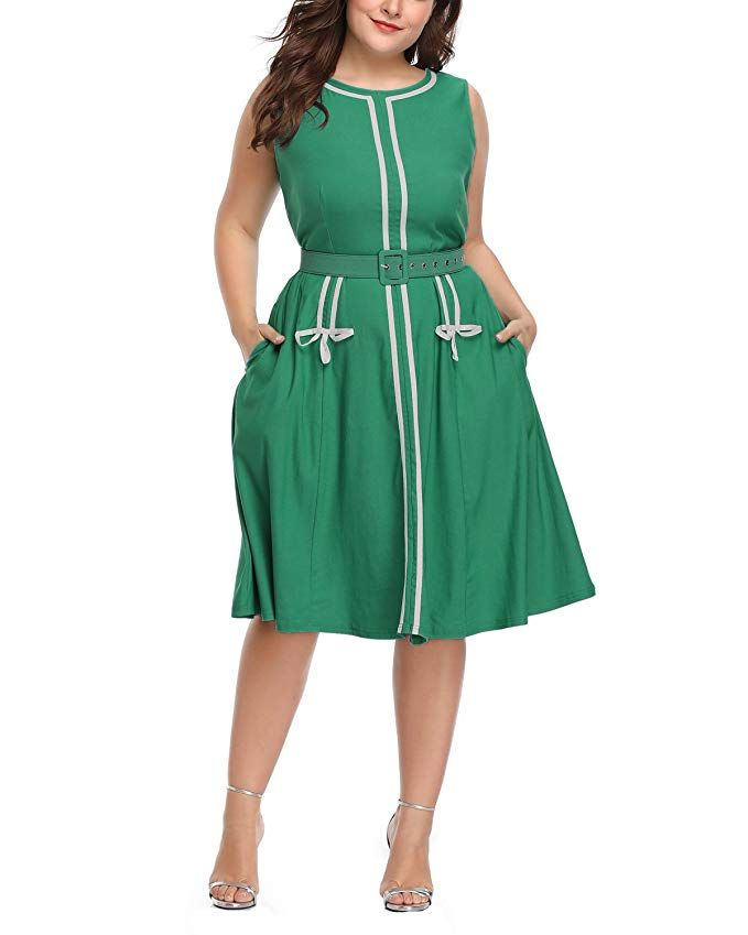 c4f291995c Women's Plus Size 1960s Vintage Crew Neck Sleeveless A-line Midi Dress with  Belt Teal 16W