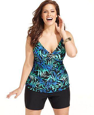 Island Escape Plus Size Swimsuit, Printed Tankini Top & Solid Swim Shorts - Plus Size Swimwear - Plus Sizes - Macy's