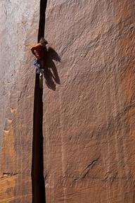 Patrick Kingsbury on The Denist Chair (5.11+), Broken Tooth, Indian Creek, Utah.