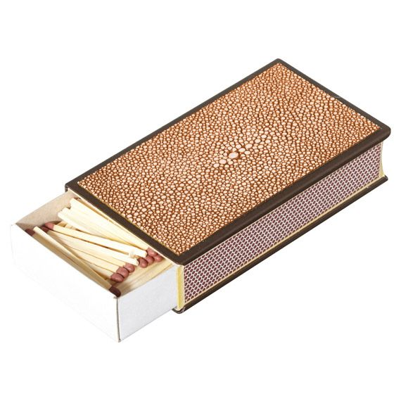 FAUX SHAGREEN MATCH BOX HOLDER - CORAL. Perfect for disguising unsightly match boxes. #oka #shagreen #matchbox