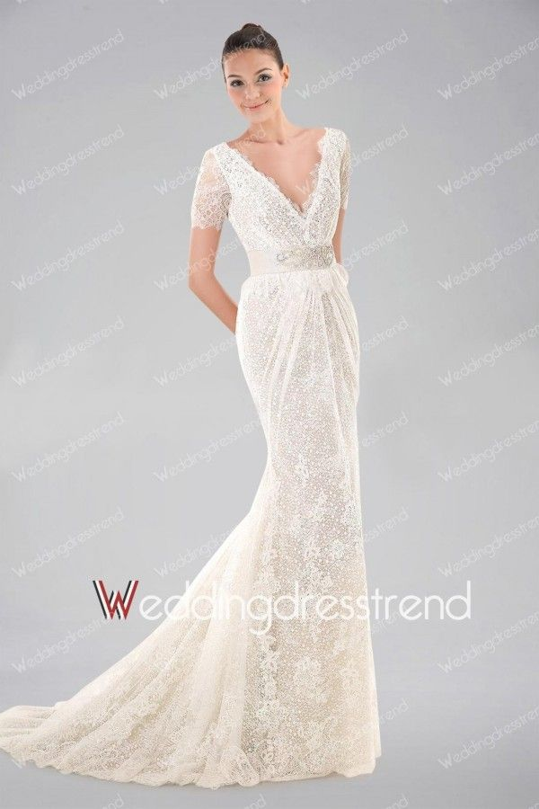 Graceful Beaded Ruched V-neck Sweep Sheath Lace Wedding Dress