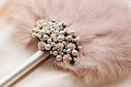Britten Weddings   Product [Fleur in blush - wedding & bridal feather fan]