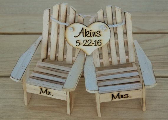 Cake Topper Adirondack Chairs-Beach Wedding-Cottage Wedding-Shabby Chic- Rustic Chic Burned/Engraved Mr. & Mrs. Adirondack cake toppers