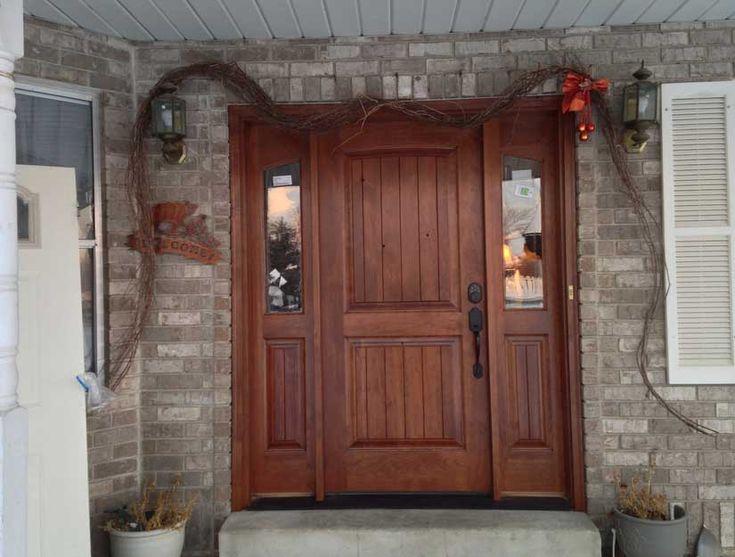Rustic home exterior wood front door with side windows - Exterior wood front doors with glass ...