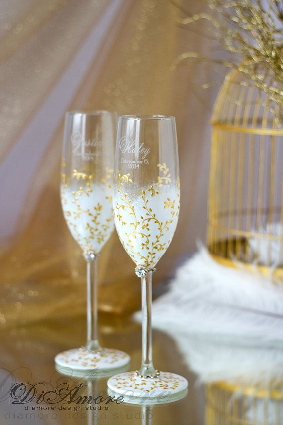 IVORY & GOLD  Wedding Champagne glasses/  Handmade от DiAmoreDS
