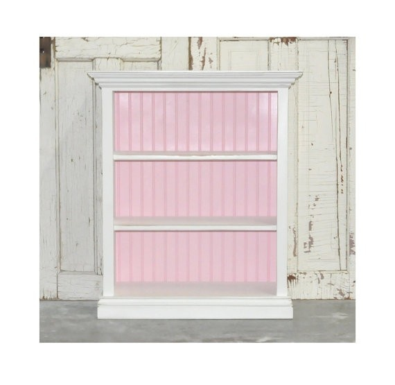 White Bookcase Distressed With Baby Pink
