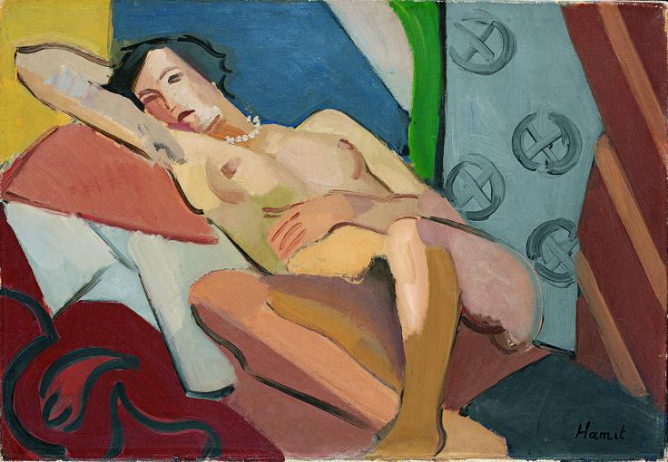 Hamit Görele Nü, tarihsiz Tuval üzerine yağlıboya, 38 x 55 cm Lucien Arkas Koleksiyonu #ÜryanÇıplakNü Nude, undated Oil on canvas, 38 x 55 cm Lucien Arkas Collection #BareNakedNude