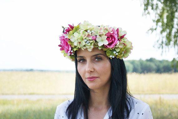 flower crown hydrangea crown photo props hair by mamwene on Etsy