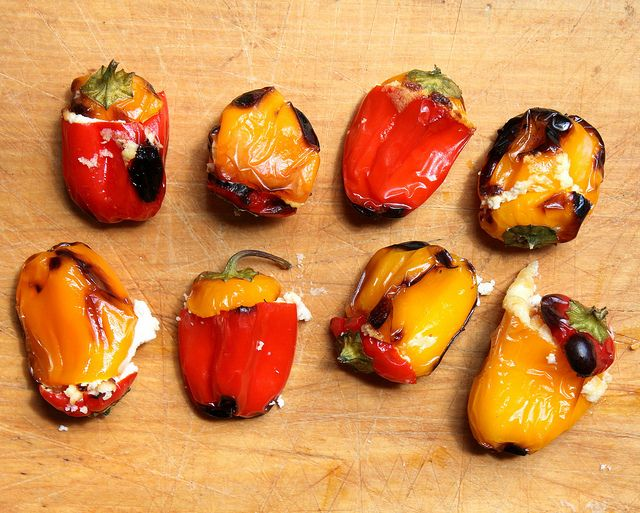 Grilled Mini Sweet Peppers stuffed with Cream Cheese & Goat Cheese