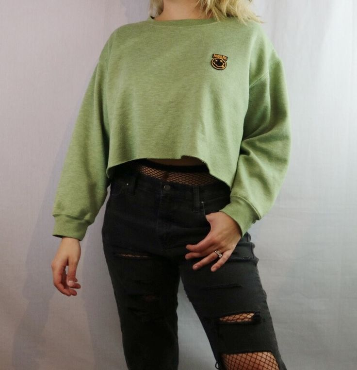 Custom Cropped Nirvana Pullover Sweatshirt. Distressed. Edgy. Grunge. Grungy 90s style. 1990s inspired. Streetwear. 2017 trend. Street style. Festival fashion. Urban fashion. DIY distressed tee. Tyedye. Hipster fashion outfit. Shop on depop bannedtees instagram bannedtees