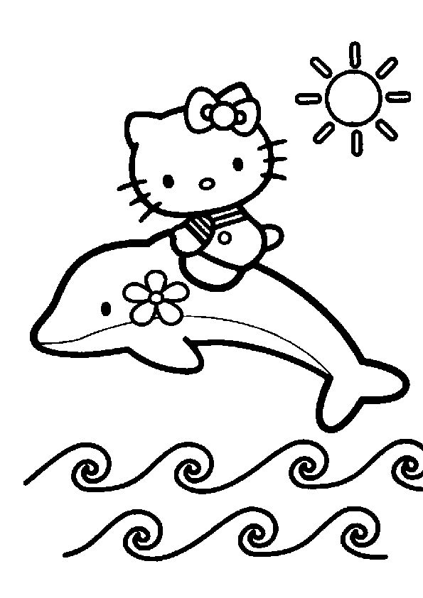 hello kitty up dolphin coloring pages
