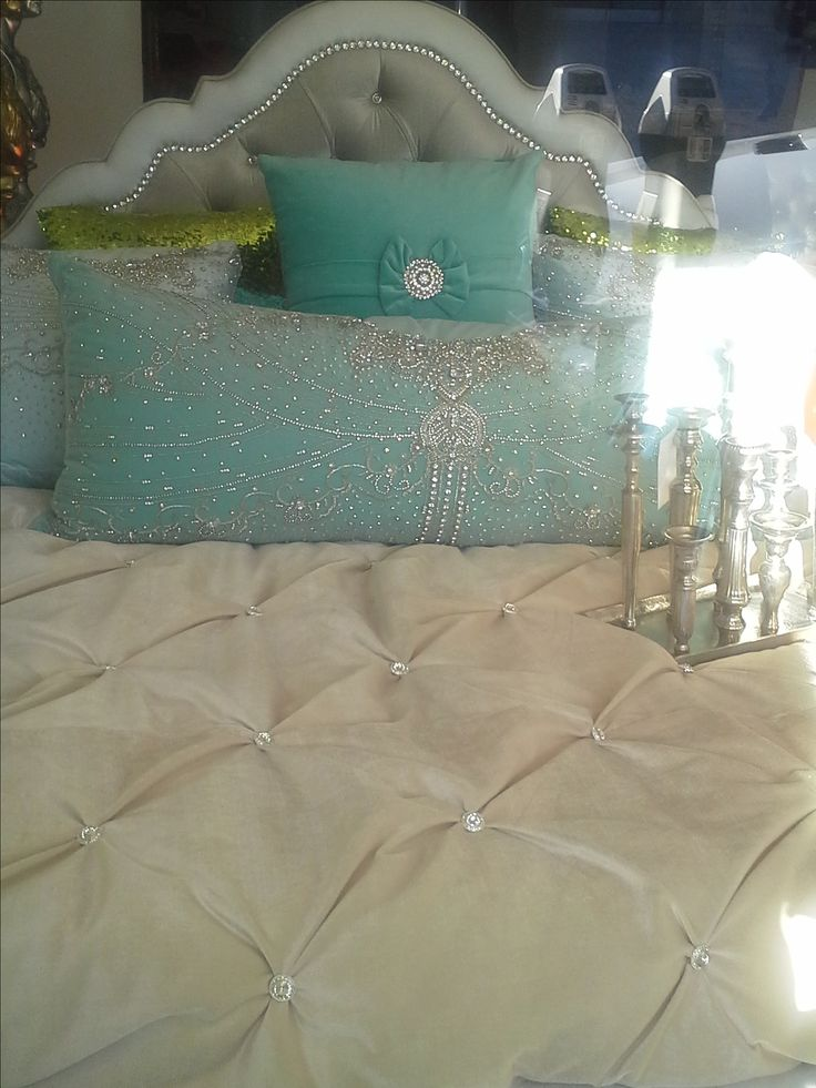 Rhinestone Headboard And Comforter Custom Made Decor