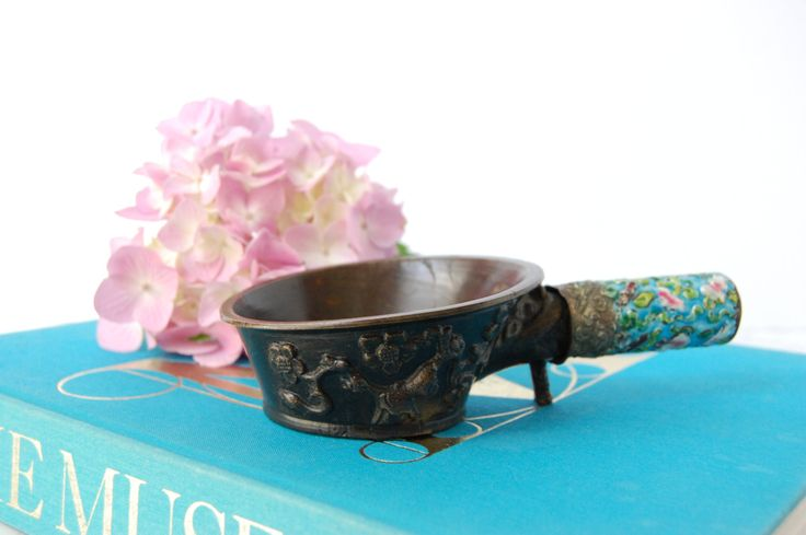 Chinese Metal Ladle - Asian Ladle Spoon Cup - Enamel and Metal Asian Ladle by PursuingVintage1 on Etsy