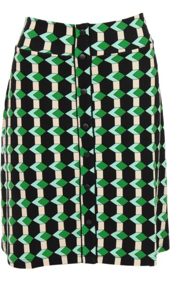 Vintage Inspired Autumn | ◦ | Button Skirt Illusion - Graphic Print Meadow Green | ◦ | King Louie AW14