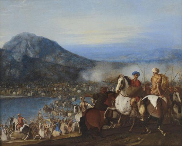 FALCONE ANIELLO b. 1607 d. 1656 - Cavalieri che guadano un fiume Olio su tela…