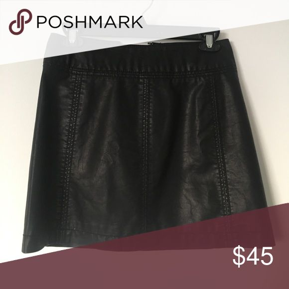 Free People Black Leather Mini Skirt This is a black leather skirt by free people! Zipper in the back. Never worn, excellent condition Free People Skirts Mini