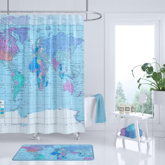 World Map Shower Curtain Historical Bright Colors Home Decor Bathroom Travel Blue Kid S Bath Bathroom Themes Vintage Shower Curtains Bathroom Decor
