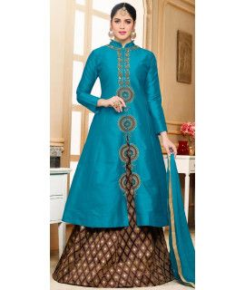Lavishing Silk Blue Lehenga Suit With Dupatta.